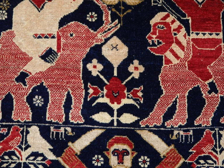 Vintage Afghan War Rug with Lions Elephants and Warriors 6 x 4 ft For Sale 7