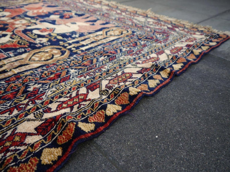 Vintage Afghan War Rug with Lions Elephants and Warriors 6 x 4 ft For Sale 8