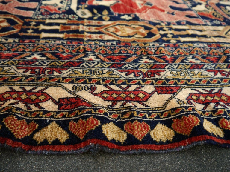 Vintage Afghan War Rug with Lions Elephants and Warriors 6 x 4 ft For Sale 9