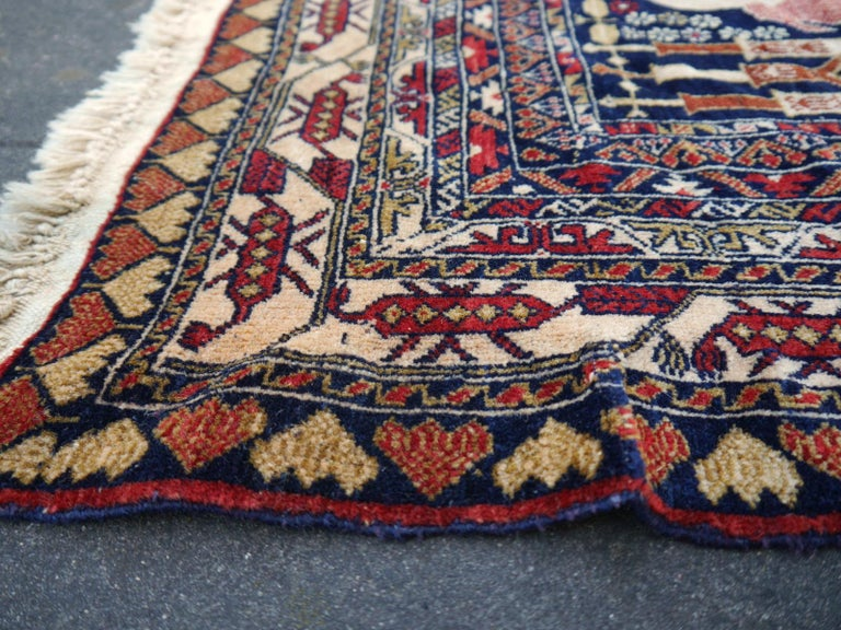 Vintage Afghan War Rug with Lions Elephants and Warriors 6 x 4 ft For Sale 10