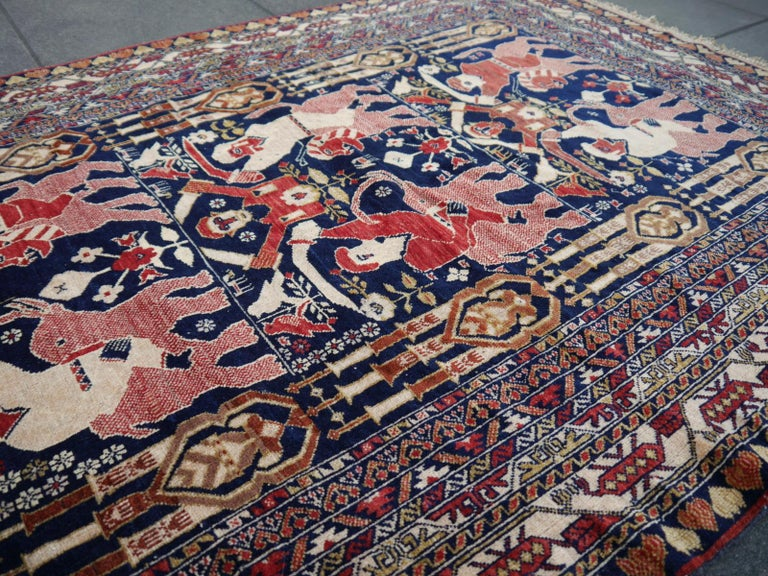 Vintage Afghan War Rug with Lions Elephants and Warriors 6 x 4 ft For Sale 12