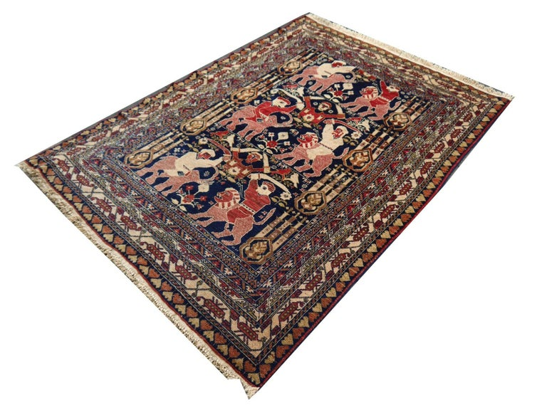 Tribal Vintage Afghan War Rug with Lions Elephants and Warriors 6 x 4 ft For Sale