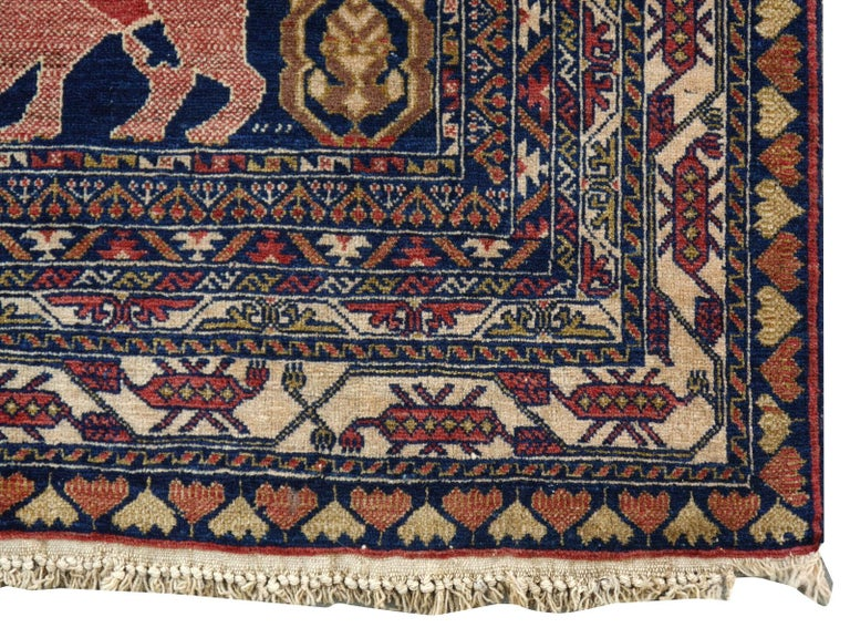 Hand-Knotted Vintage Afghan War Rug with Lions Elephants and Warriors 6 x 4 ft For Sale