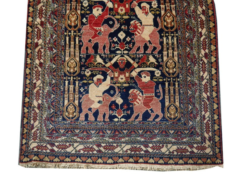 Late 20th Century Vintage Afghan War Rug with Lions Elephants and Warriors 6 x 4 ft For Sale