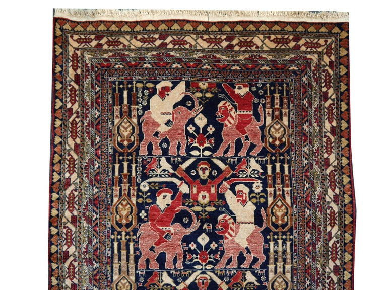 Wool Vintage Afghan War Rug with Lions Elephants and Warriors 6 x 4 ft For Sale