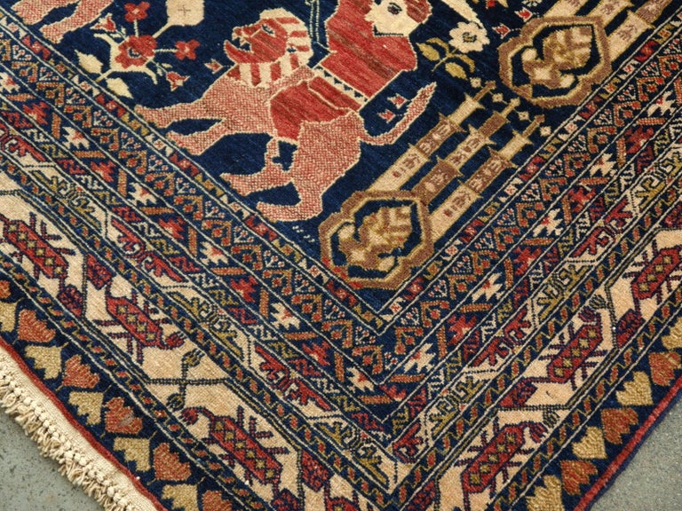 Vintage Afghan War Rug with Lions Elephants and Warriors 6 x 4 ft For Sale 1