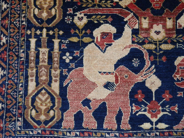 Vintage Afghan War Rug with Lions Elephants and Warriors 6 x 4 ft For Sale 2