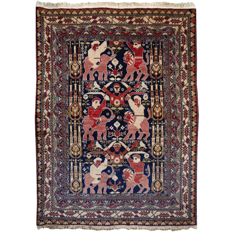 Vintage Afghan War Rug with Lions Elephants and Warriors 6 x 4 ft For Sale
