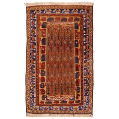 Vintage Afghan War Rug with Tanks and Helicopters