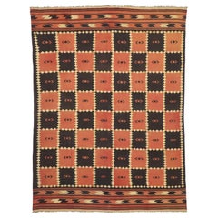 Vintage Afghani Kilim Rug with Checkerboard Design and Modern Tribal Style