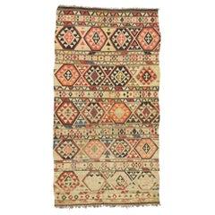 Vintage Afghani Kilim Rug with Modern Boho Chic Southwestern Aztec Style