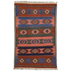 Vintage Afghani Kilim Rug with Southwestern Navajo Native American Style
