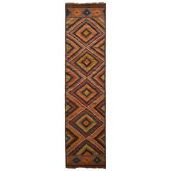 Vintage Afghani Kilim Runner Orange Diamond Pattern Tribal Rug