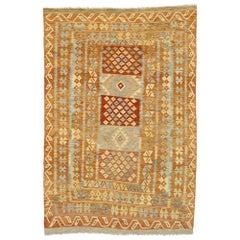 Vintage Afghani Shirvan Kilim Rug with Modern Boho Chic Southwestern Aztec Style