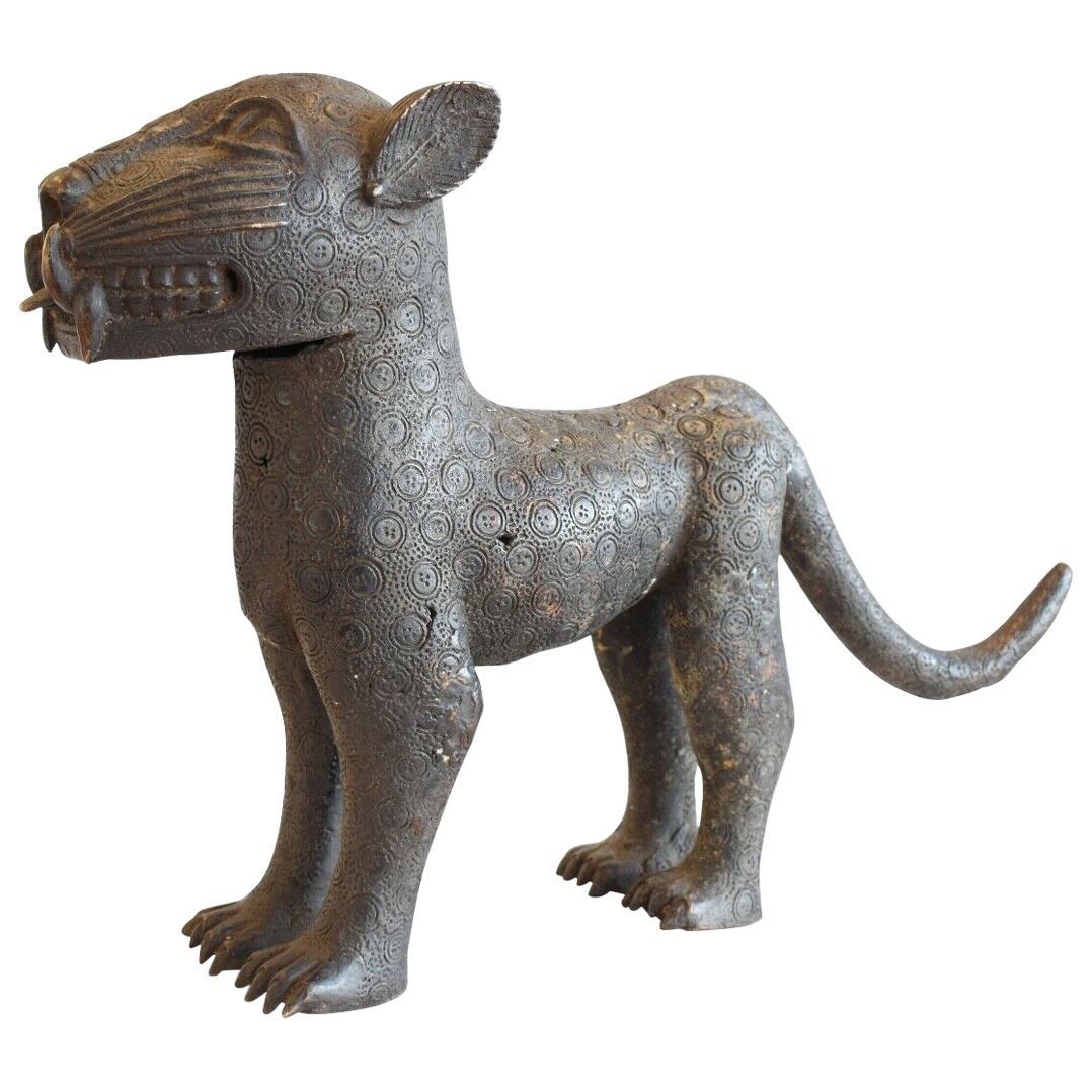 Vintage African Benin Bronze Royal Leopard Cat