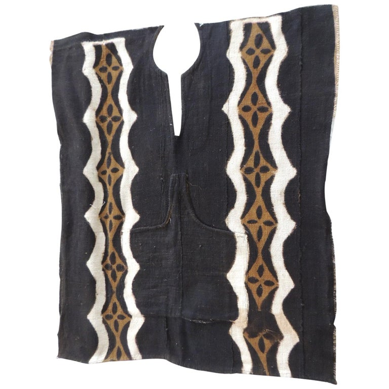 Vintage African Black and Brown Mudcloth Textile For Sale