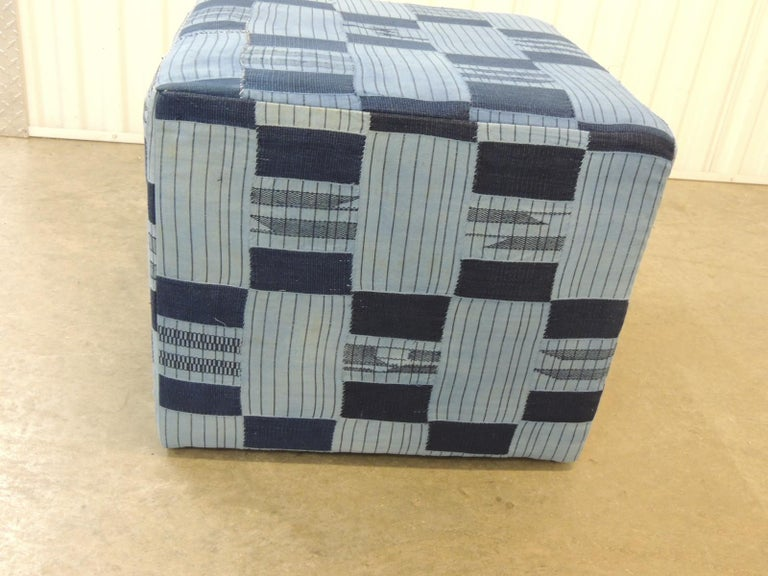 Tribal Vintage African Blue and Indigo Woven Textile Unique Custom Ottoman For Sale