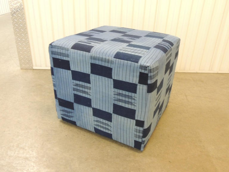 Hand-Crafted Vintage African Blue and Indigo Woven Textile Unique Custom Ottoman For Sale