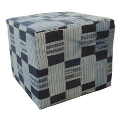 Vintage African Blue and Indigo Woven Textile Unique Custom Ottoman