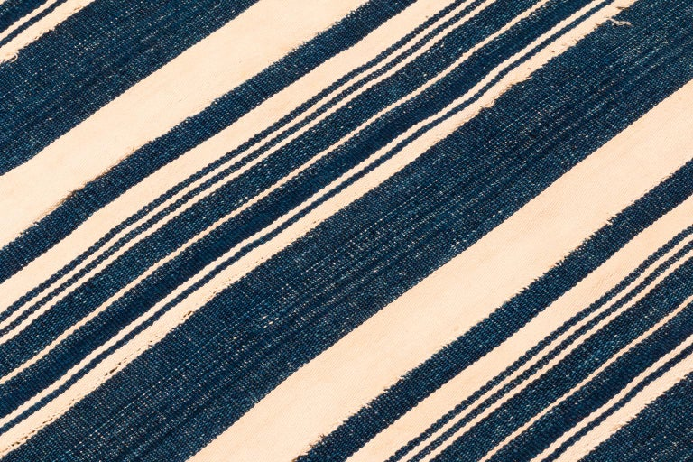 Tribal Vintage African Blue and White Striped Indigo Cotton Wrap For Sale