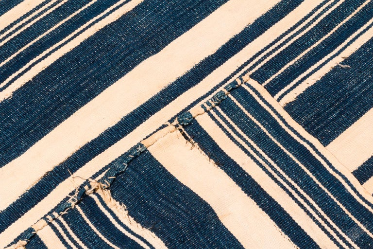Ivorian Vintage African Blue and White Striped Indigo Cotton Wrap For Sale
