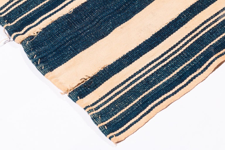 Hand-Woven Vintage African Blue and White Striped Indigo Cotton Wrap For Sale