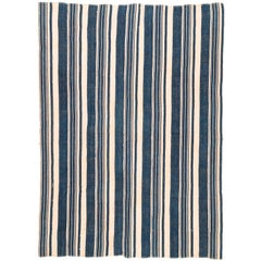Vintage African Blue and White Striped Indigo Cotton Wrap
