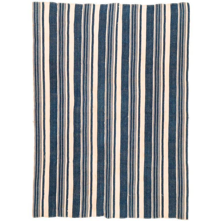 Vintage African Blue and White Striped Indigo Cotton Wrap For Sale