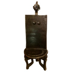 Vintage African Carved Wood Tanzanian Ceremonial Chief's Throne Chair