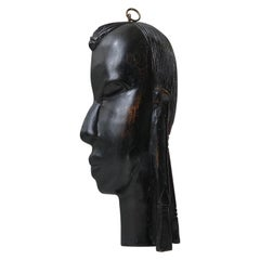 Vintage African Face Wall Plaque in Ebony, 1960s