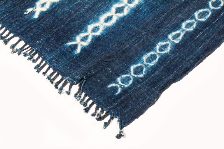 Tribal Vintage African Indigo Blue and White Cotton Wrap Blanket For Sale