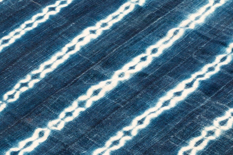 Hand-Woven Vintage African Indigo Blue and White Cotton Wrap Blanket For Sale