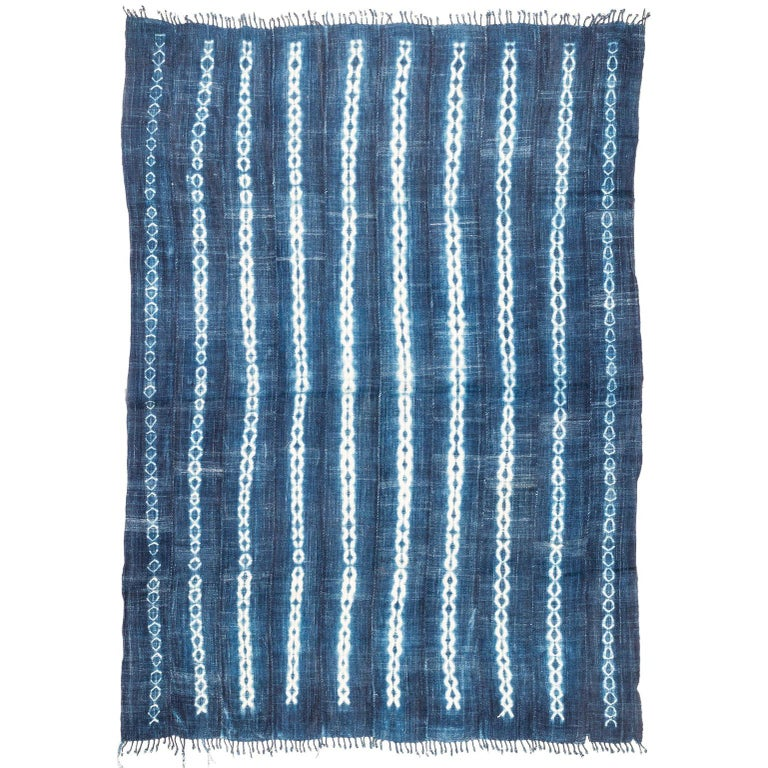 Vintage African Indigo Blue and White Cotton Wrap Blanket For Sale