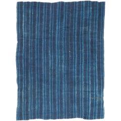 Vintage African Indigo Blue Hand Dyed Cotton Wrap Textile