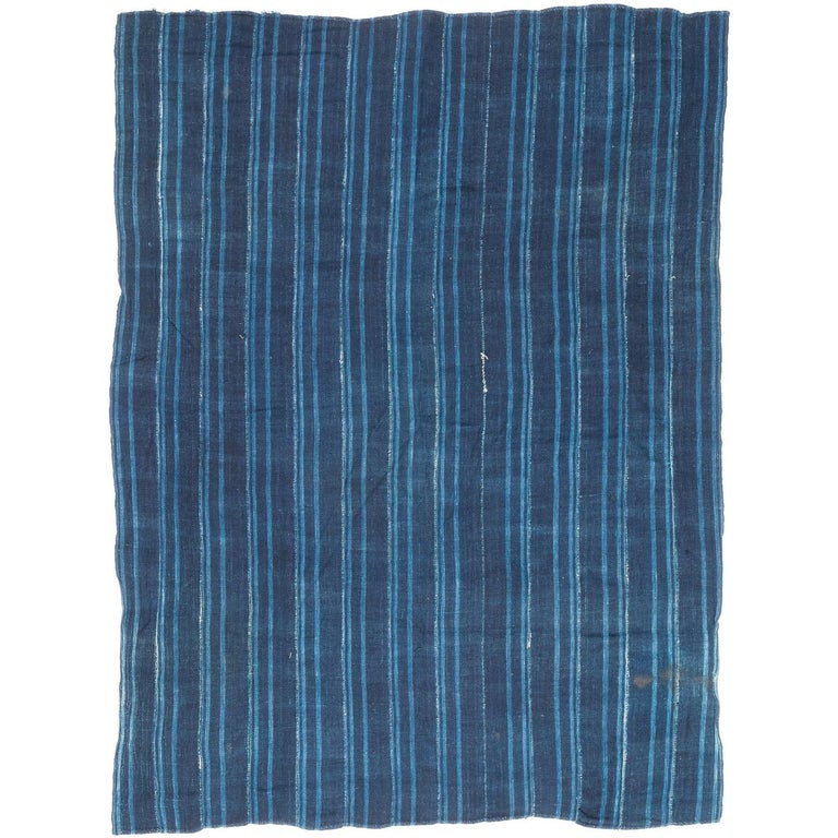 Vintage African Indigo Blue Hand Dyed Cotton Wrap Textile For Sale