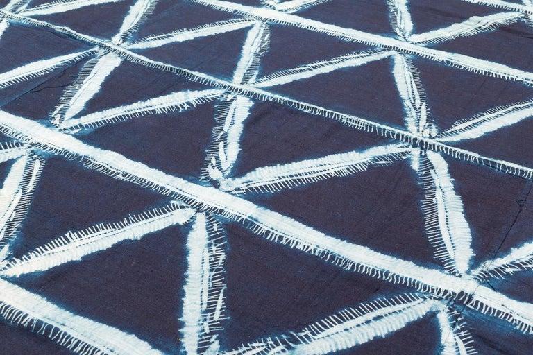 Mid-20th Century Vintage African Indigo Dye Yoruba Textile Wall Hanging For Sale