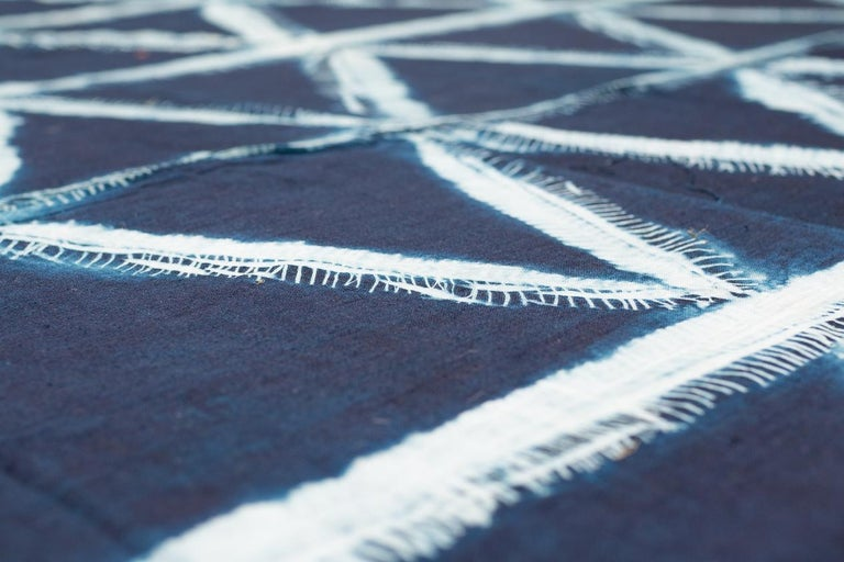Cotton Vintage African Indigo Dye Yoruba Textile Wall Hanging For Sale