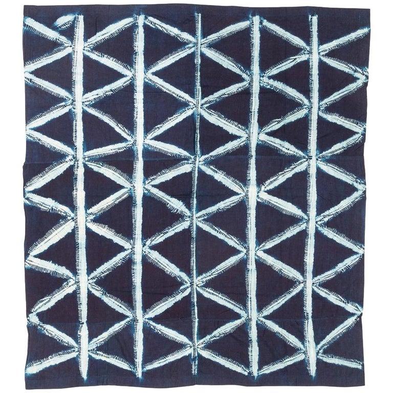 Vintage African Indigo Dye Yoruba Textile Wall Hanging For Sale
