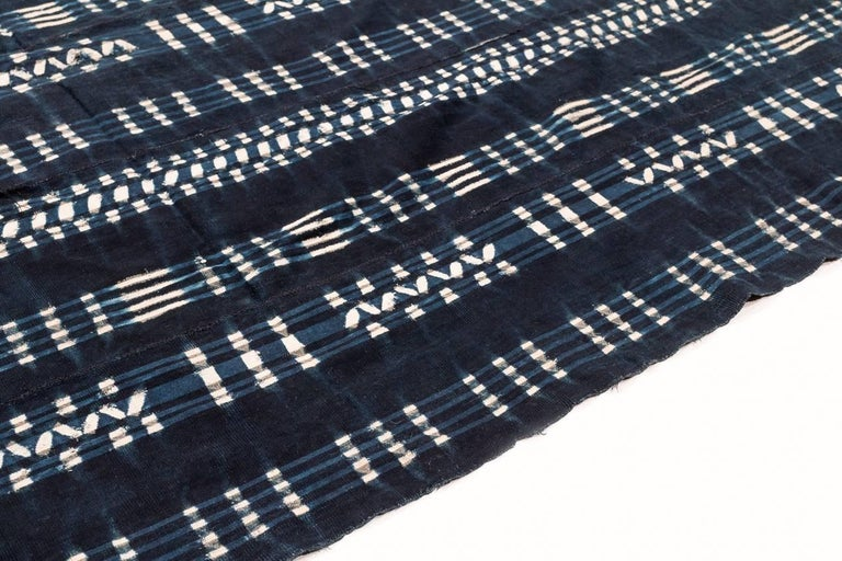 Tribal Vintage African Indigo Dyed Cotton Textile For Sale