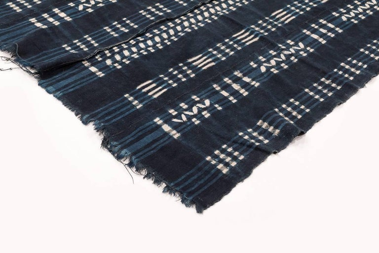 Burkinabe Vintage African Indigo Dyed Cotton Textile For Sale