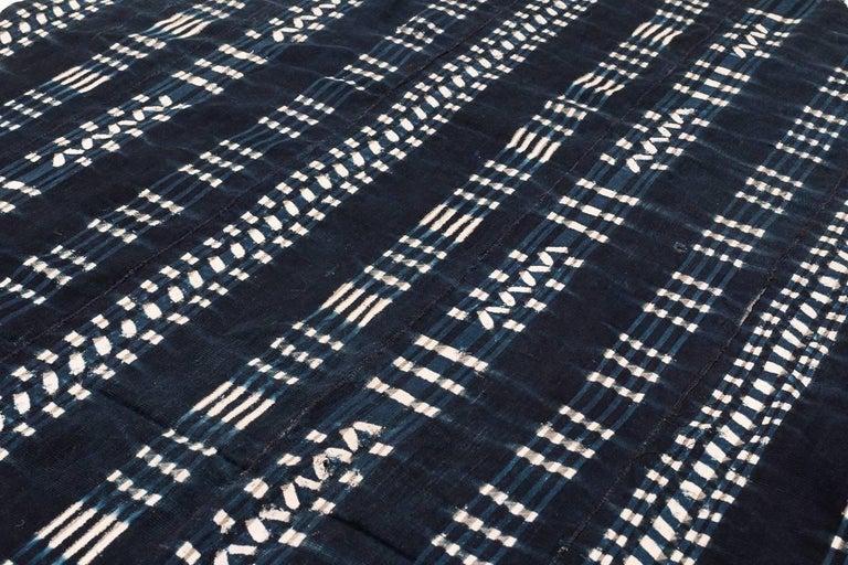 Vintage African Indigo Dyed Cotton Textile For Sale 1