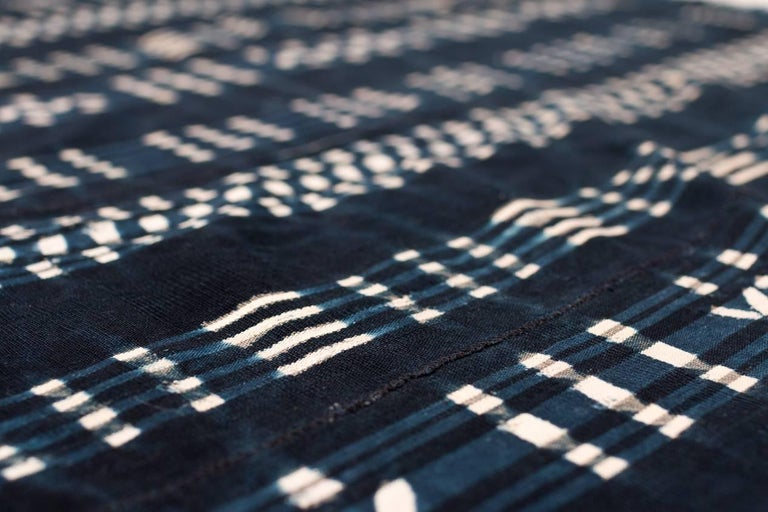 Vintage African Indigo Dyed Cotton Textile For Sale 2
