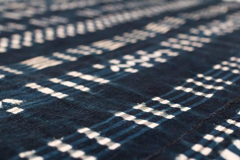 Vintage African Indigo Dyed Cotton Textile For Sale 3