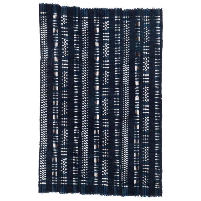 Vintage African Indigo Dyed Cotton Textile For Sale