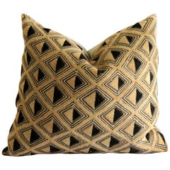 Vintage African Kuba Cloth pillow Black and Tan Pattern