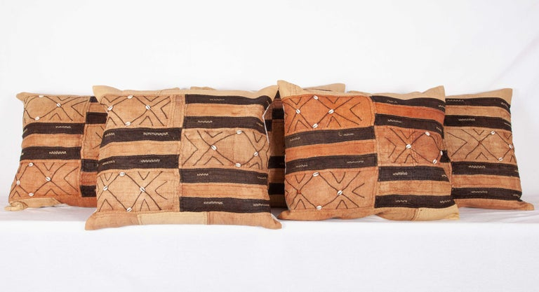 Tribal Vintage African Kuba Cloth Pillow Cases, Mid-20th Century For Sale