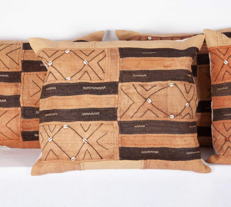Congolese Vintage African Kuba Cloth Pillow Cases, Mid-20th Century For Sale