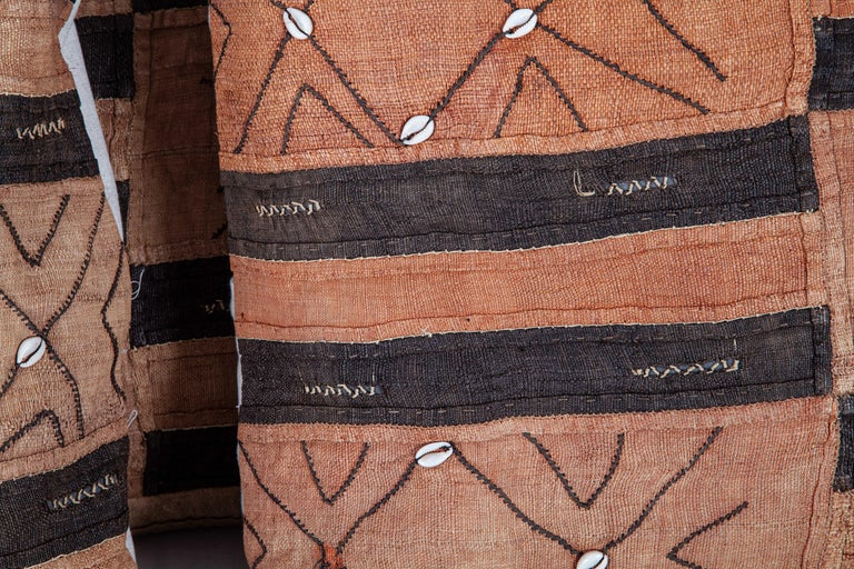 Hand-Woven Vintage African Kuba Cloth Pillow Cases, Mid-20th Century For Sale