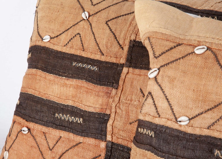 Natural Fiber Vintage African Kuba Cloth Pillow Cases, Mid-20th Century For Sale