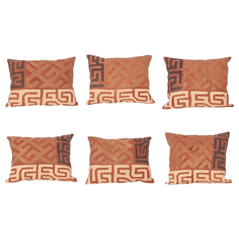 Vintage African Kuba Cloth Pillow Cases, Mid-20th Century For Sale